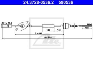 Kupplungsbet/ätigung ATE 24.3728-0128.2 Seilzug