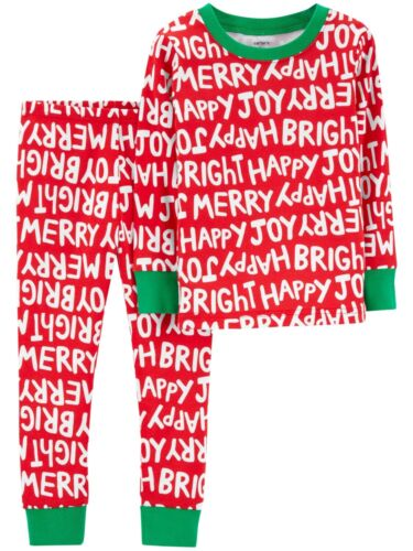 Carters Infant /& Toddler Girls /& Boys Red Happy Merry Joy Christmas Pajamas