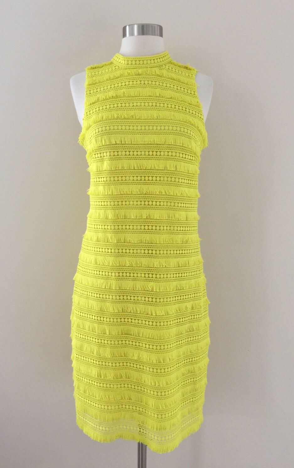 New Jcrew Sheath dress in fringy lace Bright Citron Yellow G2399 2T SPRING 2017
