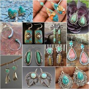 Vintage-Boho-Tibetan-925-Silver-Turquoise-Dangle-Hook-Earrings-Women-Jewelry