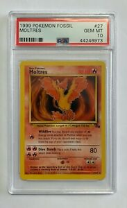 Moltres-Rare-Pokemon-Card-Unlimited-Fossil-Series-27-62-Graded-PSA-10-GEM-MINT