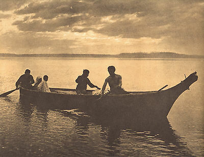 "EDWARD CURTIS Indian Tribe ""HOMEWARD"" Vintage Native American Photo Print"