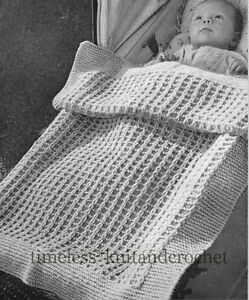VINTAGE 1950s KNITTING PATTERN FOR BABY / BABIES PRAM ...