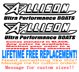 Set of 2 24 inch long Allison performance Boat hull decals lifetime warranty