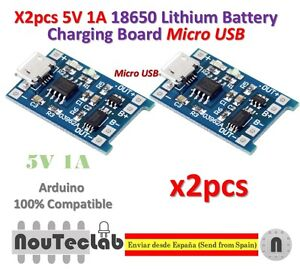 2PCS 5V Micro USB 1A 18650 Lithium Battery Charging Board Charger Module