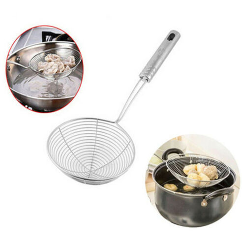 Stainless Soup Ladle Spoon Skimmer Strainer Mesh Filter Kitchen Cooking Tool