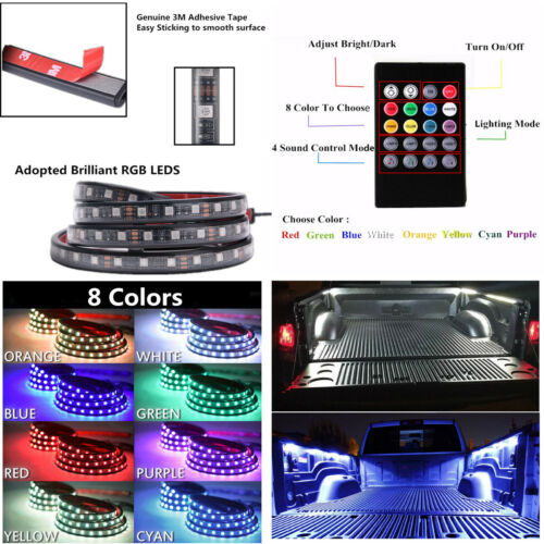 2 x Car Truck 60/'/' RGB LED Bed Light Atmosphere Light Strip Remote Music Control