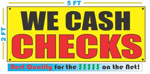 WE CASH CHECKS Banner Sign Yellow with Red /& Black