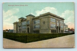 Hibbing-MN-EARLY-1900s-STREET-SCENE-VIEW-OF-WASHINGTON-SCHOOL-POSTCARD-M7