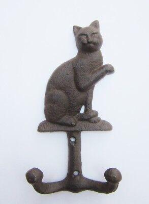 Moritz Wandgarderobe Hakenleiste Katze antik weiß mit 6 Haken Gusseisen Vintage