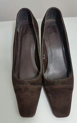 Zapatos para mujer Talla 5 Reino Unido 38 EUR Gamuza Cuero Marrón Cuadrada Toe Talón Carrera Wear