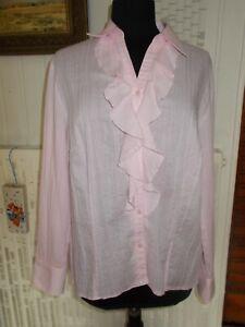 Chemisier-coton-polyester-manches-longues-rose-UN-JOUR-AILLEURS-48FR-20UK-46D