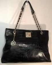 donna karan DKNY Black Croc Embossed Leather Shopper Handbag Purse Shoulder Bag
