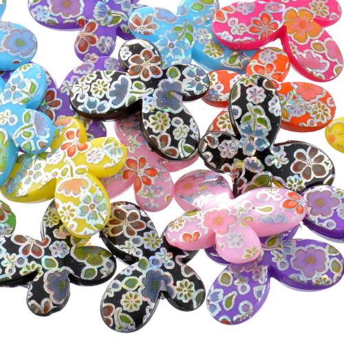 PD 20 Mix Schmetterling Acryl Spacer Perlen Beads Basteln 29x22mm