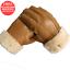 Men Winter Leather Gloves Warm Genuine Sheepskin Fur Mittens Thermal Fur Wool