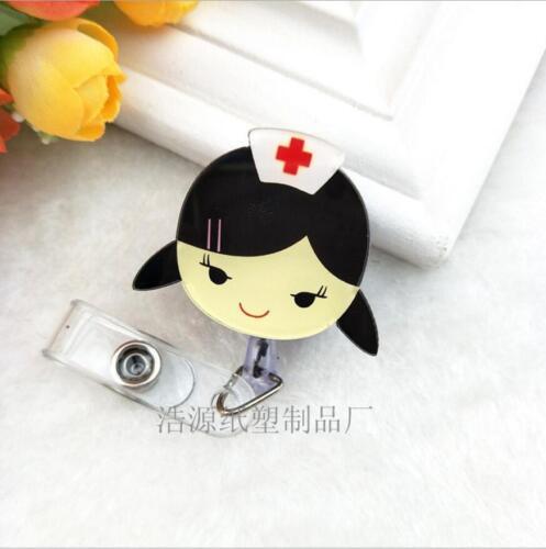Retractable Badge Reel Nurse Exihibiton ID Name Card  Holder School Supplies vv