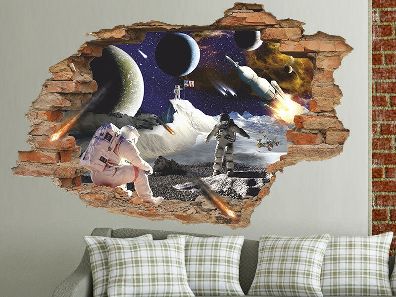 On the Moon 3D Wall Decal, Astronauts on the Moon Wall Sticker, Space Removable
