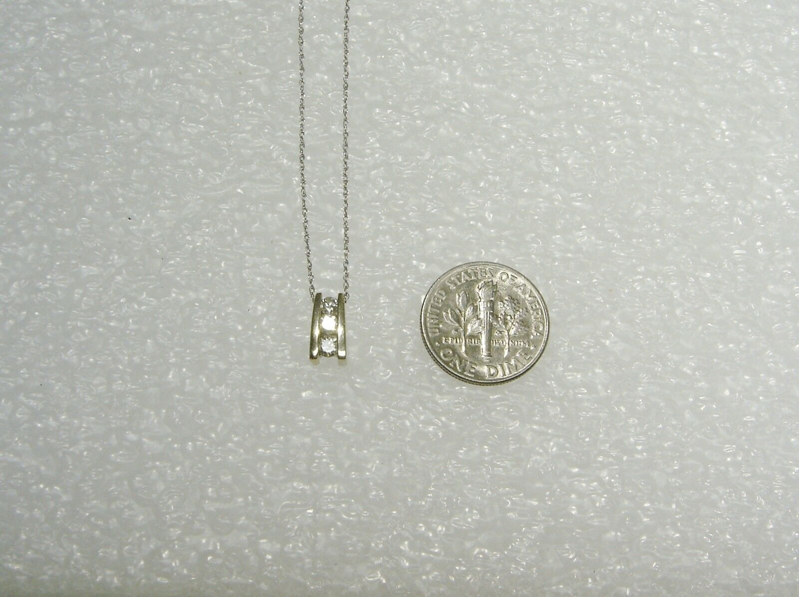 Luccicante  14k oro Bianco & Diametro Past Present Futuro Futuro Futuro Collana con Ciondolo b8d03c
