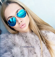 Large Big Thin GOLD Metal Aviator Jennifer Mirror Lens Fashion Women Sunglasses