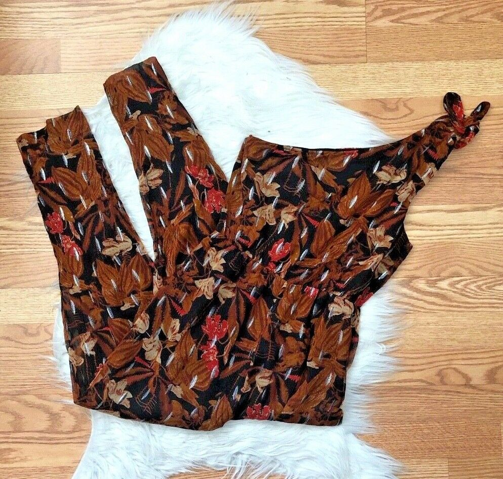 9e1cbcdf1be9 NEW Anthro Brown Floral One Jumpsuit 0 Shoulder Maeve otggks4068 ...