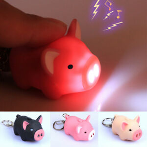 3 Colors Funny Pig Led Sound Light Flashlight Key Rings Keychains Kids Toys