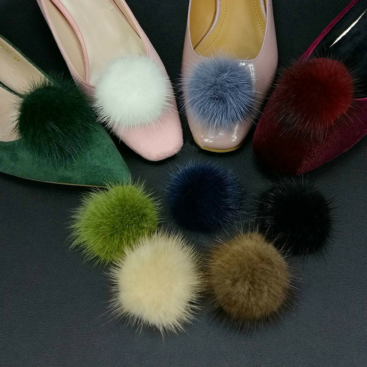 1 Pair Mink Fur Pom Pom Shoe Clips Fluffy Ornament Heels Boots Charm Decoration