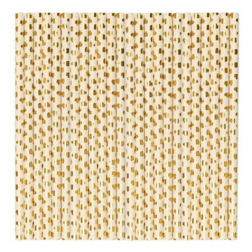 Beige w// Gold Heart Pastel Durable Eco High Quality Paper Party Straws 48 Pack