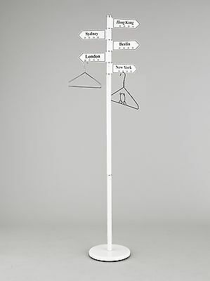 Display-FREE STANDING COAT RACK STAND/WHITE -WITH 5 SWIVEL CITY'S HANGERS-CR25W