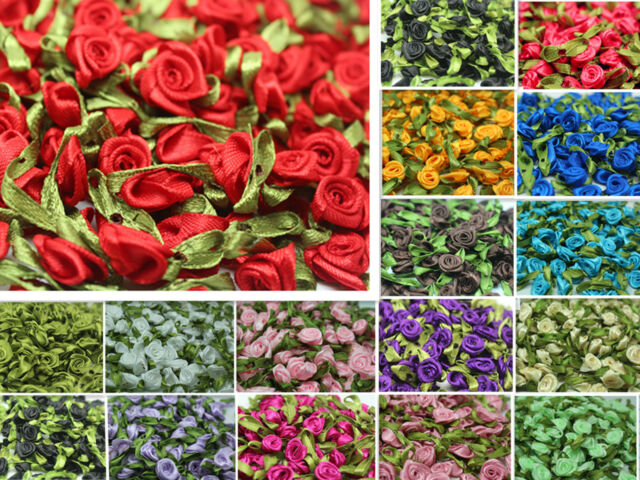 12mm Satin Ribbon Rose Flower sewing dress bow craft wedding Appliques decor C