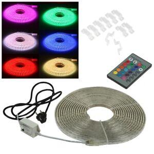 11-99-m-10m-20m-RGB-LED-Stripe-230V-mit-Fernbedienung-SMD-Licht-Streifen-Band