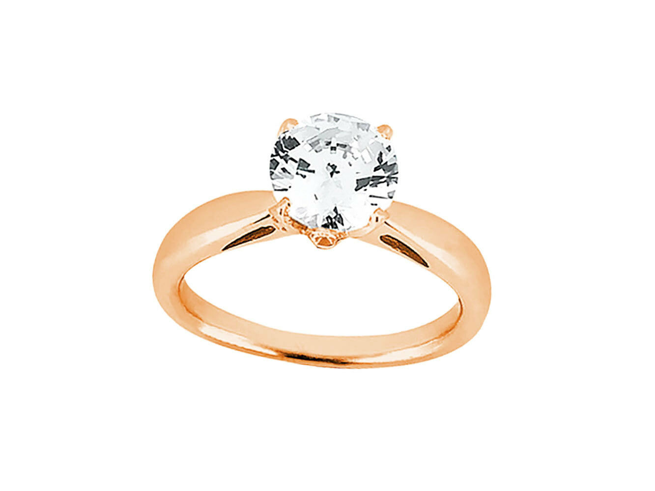 Genuine 0.75Ct Round Diamond Accented Solitaire Engagement Ring 10k gold