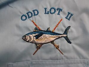 Mens-Large-L-O-039-KEEFEs-REEF-S-S-Blue-Poly-Blend-Vented-2-Pocket-Fishing-Shirt