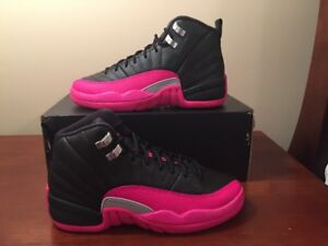 buy popular e1fa1 404f4 Details about Nike Air Jordan XII 12 Retro GS BLACK DEADLY PINK 510815-026  5Y