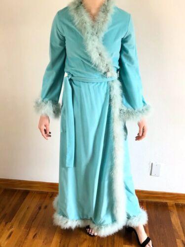 Vtg 1970s Lori Till Blue Feather Peignoir Robe Dre