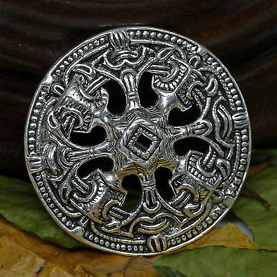 1 Scheibenfibel Bronze Versilb. Schürzenfibel Wikingerschürze Fibel Borrestil