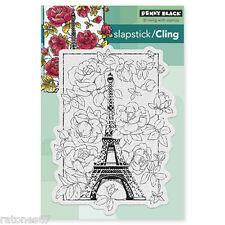 New Penny Black APRIL IN PARIS Slapstick Cling Rubber Stamp Eiffel Tower Flowers