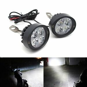 2x-Motorcycle-Headlight-Spot-Fog-Lights-Head-Lamp-4-LED-Front-12V-Driving