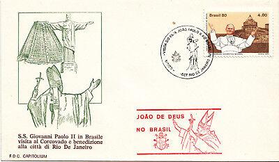 """Briefmarken 1240 Vatikan Fdc.."""" Papst Reise Nach Brasilien 1980 """" ."""