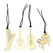 4pcs Gold Plated Metal Music Instrument Piano Violin Bookmark Book Paper Reading