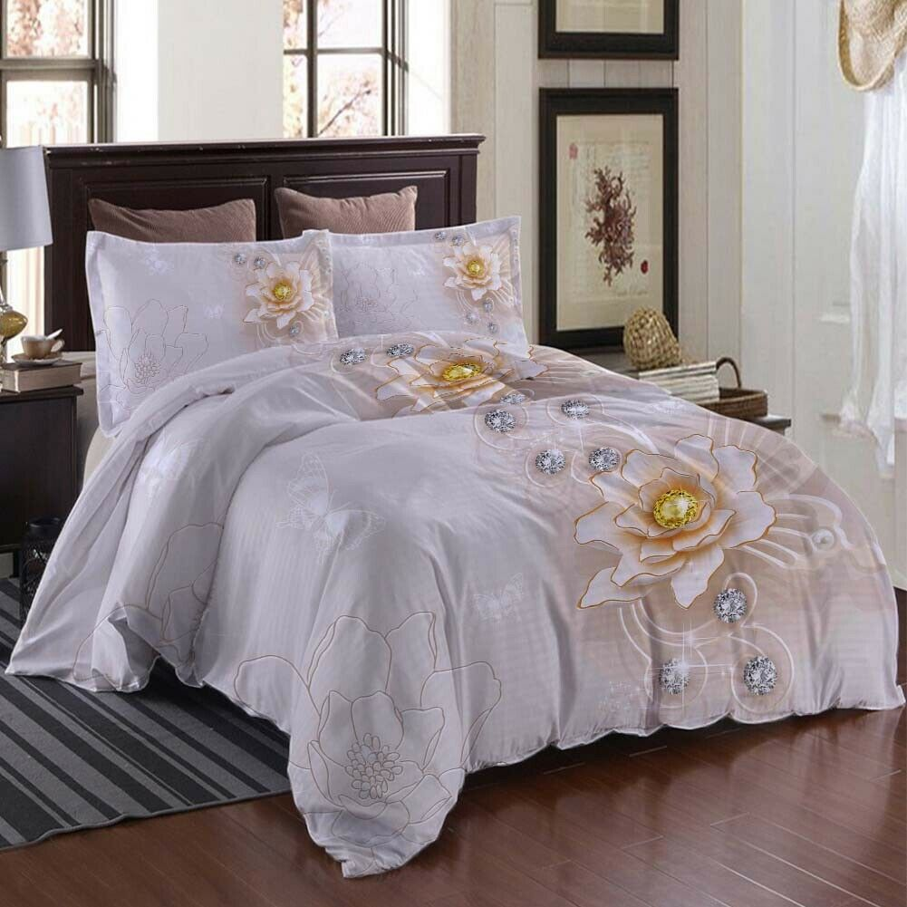 A Golden Lotus 3D Printing Duvet Quilt Doona Covers Pillow Case Bedding Sets