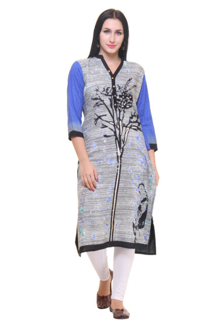 Indian Bollywood Kurta Kurti Designer Women Clothing EDH Ethnic Dress Top