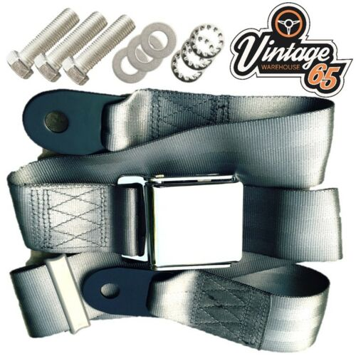 Classic Triumph MG Chrome Buckle 3 Point Adjustable Static Seat Belt Kit Grey
