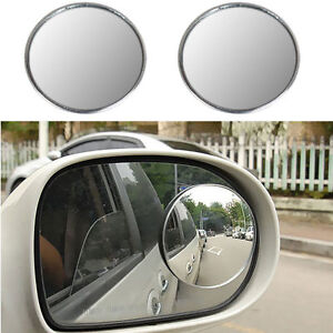 """2/"""" Frame Square Car Stick-on Blind Spot Mirrors HD Glass Convex Wide Angle 2PC"""