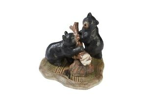Black-Bears-with-Log-Wood-Carving-Sculpture-Cabin-Rustic-Decor