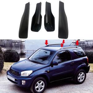 Black-Roof-Rails-Rack-End-Cover-Shell-4pcs-For-Toyota-RAV4-XA20-2001-2005