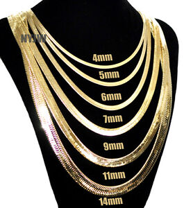 Mens-Herringbone-Yellow-14k-Gold-Plated-4-to14mm-wide-20-034-24-034-30-034-Chain-Necklace