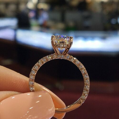 Sparkling 14K Gold Filled Cubic Zirconia Wedding Band Engagement Rings For Women