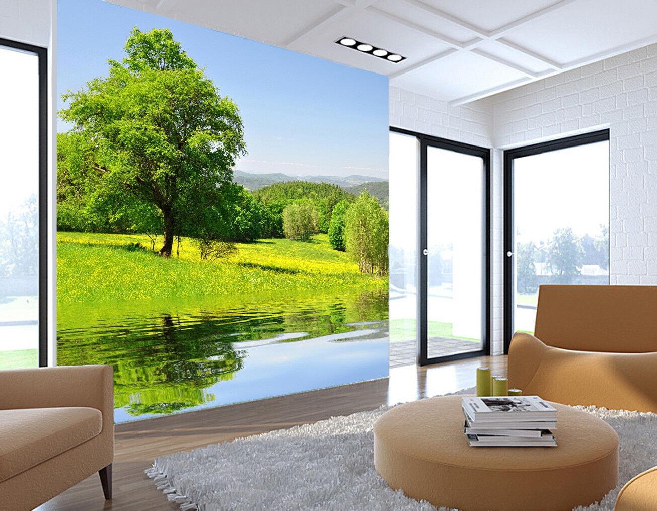 3D 3D 3D Grün Tree Lake 738 Wallpaper Mural Paper Wall Print Wallpaper Murals UK 070ffe