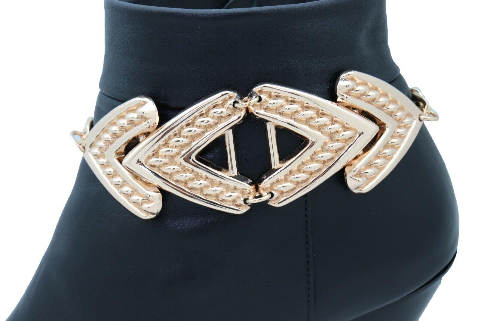New Women Gold Metal Chain Boot Bracelet Shoe Anklet Arrow Charm Adjustable Size
