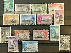 Falkland-Islands-Dependencies-QEII1954-Mi-19-33-Post-stamps-with-ships-boats
